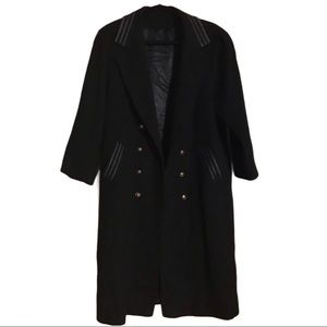 Anna Collection Long Pure Virgin Wool Coat Black (See Approximate Measurements)